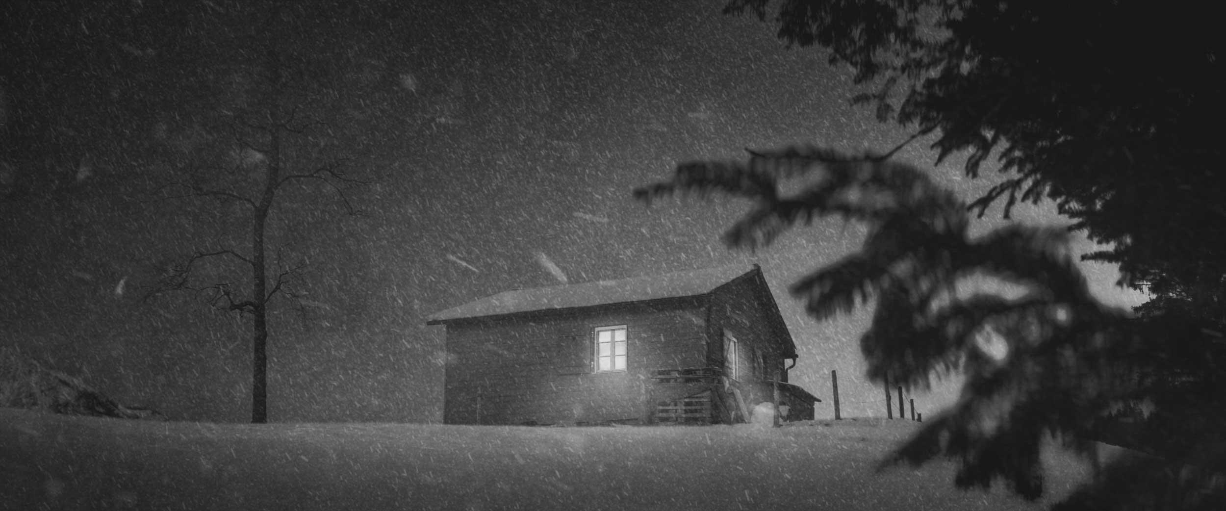 Alpine Getaway | hut in snow storm