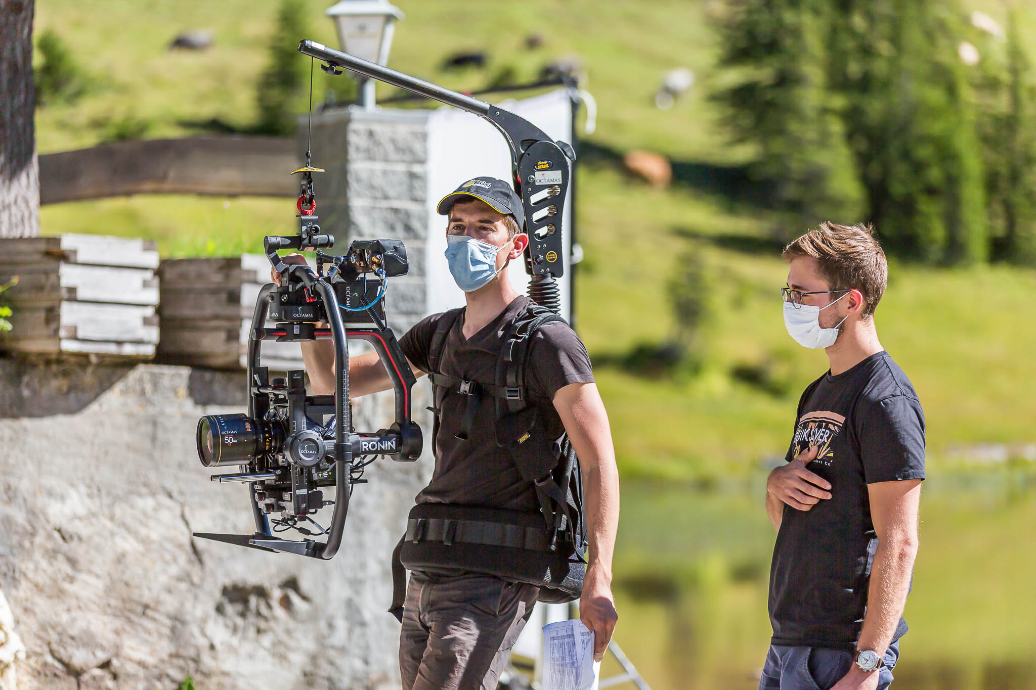 Sebastian Klinger holding camera on set of The Station In-Between